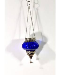 Závěsný skleněný svícen, modrý, kovové zdobení, 10x10cm