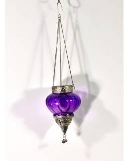 Závěsný skleněný svícen, fialový, kovové zdobení, 10x10cm