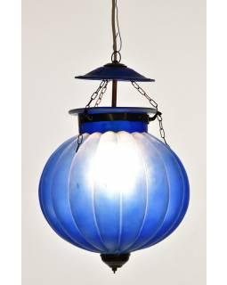 Skleněná lampa, matně modrá, mosazné prvky, prům. 30cm, výška 44cm