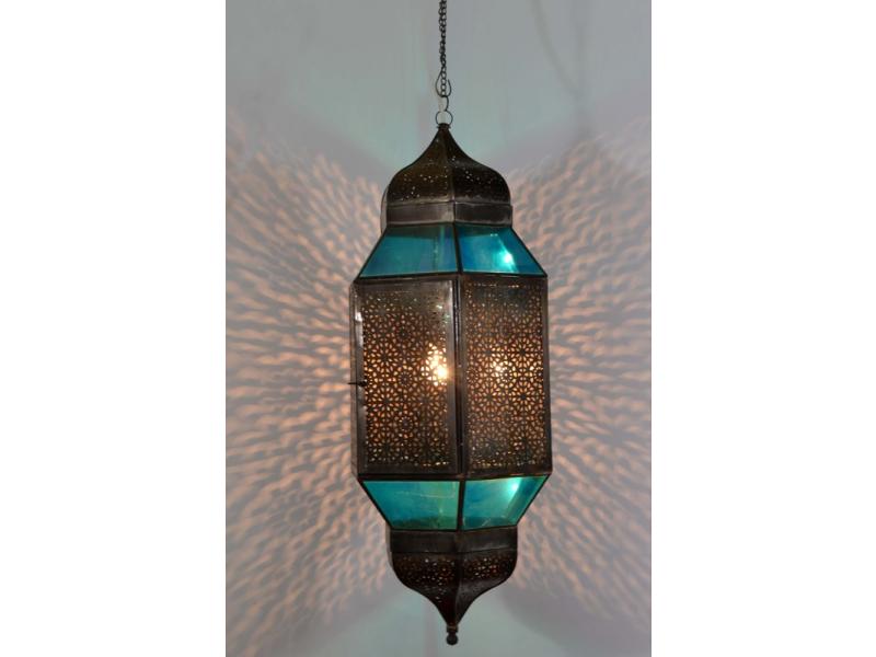 Velká prosklená lampa v orientálním stylu, tyrkysová, ruční práce, cca 32x80cm