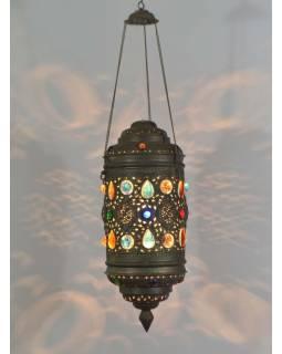 Antik lampa v orientálním stylu s barevnými kameny, ruční práce, cca 20x50cm