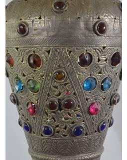 Antik lampa v orientálním stylu s barevnými kameny, ruční práce, cca 30x60cm