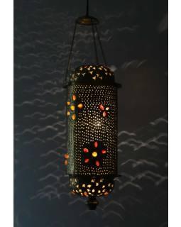Mosazná tepaná lampa v orientálním stylu s barevnými kameny, ruční práce, 20x50