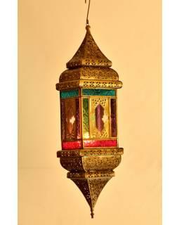 Arabská lampa, multibarevná, mosaz, sklo, ruční práce, cca 13x13x50cm