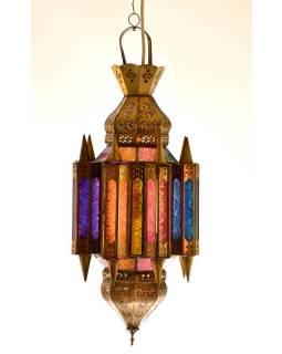 Arabská lampa, multibarevná, mosaz, sklo, ruční práce, cca 28x65cm