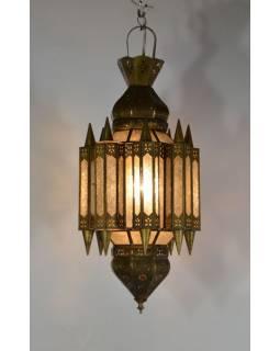 Arabská lampa, čirá, mosaz, sklo, ruční práce, cca 28x65cm