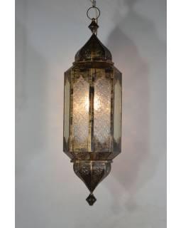 Arabská lampa, mosaz, ruční práce, tmavá patina, 88x26cm