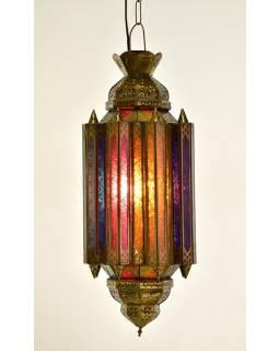 Arabská lampa, multibarevná, mosaz, sklo, ruční práce, cca 28x58cm