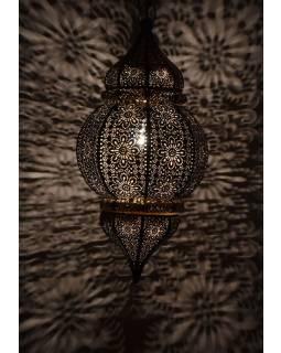 Mosazná orientální lampa, tmavě zlatá, ruční práce, 30 x 63cm