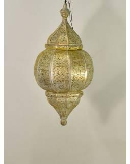 Mosazná orientální lampa, zlatobílá, žlutá uvnitř, ruční práce, 30 x 63cm