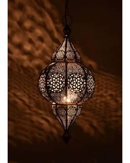 Mosazná lampa v orientálním stylu s jemným vzorem, měděná, vnitřek bílý, 19x40cm