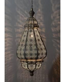 Mosazná orientální lampa, zlatá a bílý vnitřek, ruční práce, 30x60cm