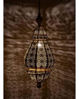 Mosazná orientální lampa, zlatá a žlutý vnitřek, ruční práce, 30x60cm