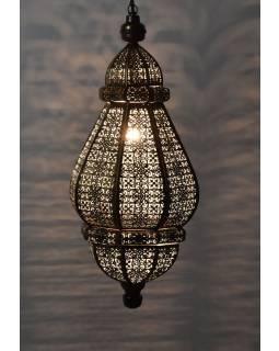 Mosazná lampa v orientálním stylu, tmavá, uvnitř bílá barva, 22x46cm