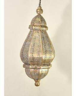 Mosazná lampa v orientálním stylu, bílá, uvnitř bílá barva, 22x46cm