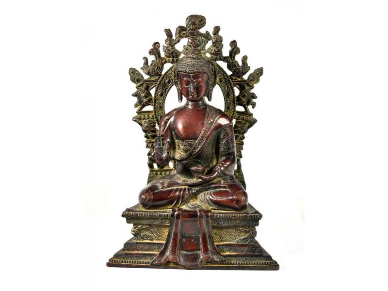 Buddha Amoghasiddhi, mosaz, 30cm