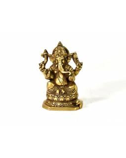 Socha Ganesh, mosaz, starozlatá patina, 14cm