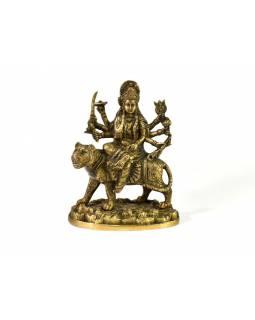 Socha Durga na lvu, mosaz, starozlatá patina, 24cm