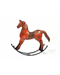Kovová soška houpací kůň, oranžová, velký, 26x29x6,5cm