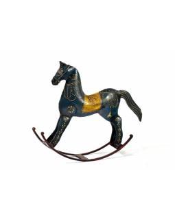Kovová soška houpací kůň, modrá, velký, 26x29x6,5cm