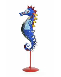 Ručně malovaný svícen mořský koník - modrý, tepaný kov, malý, 8x8x29cm