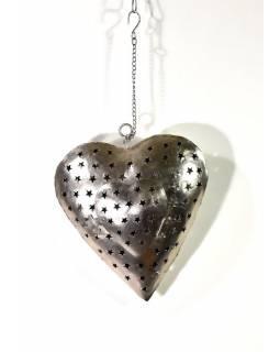 Závěsný svícen, kovové srdce, 27x31cm