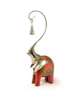 Soška slona, dřevěná, ručně malovaná, kovová hlava se zvonečkem, 15x42cm