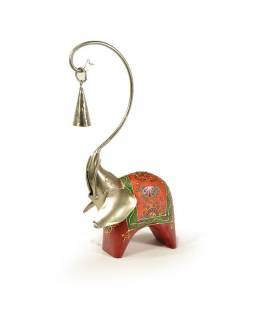 Soška slona, dřevěná, ručně malovaná, kovová hlava se zvonečkem, 14x32cm