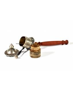 Ruční modlitební mlýnek, 3 řady manter, kameny, 25cm