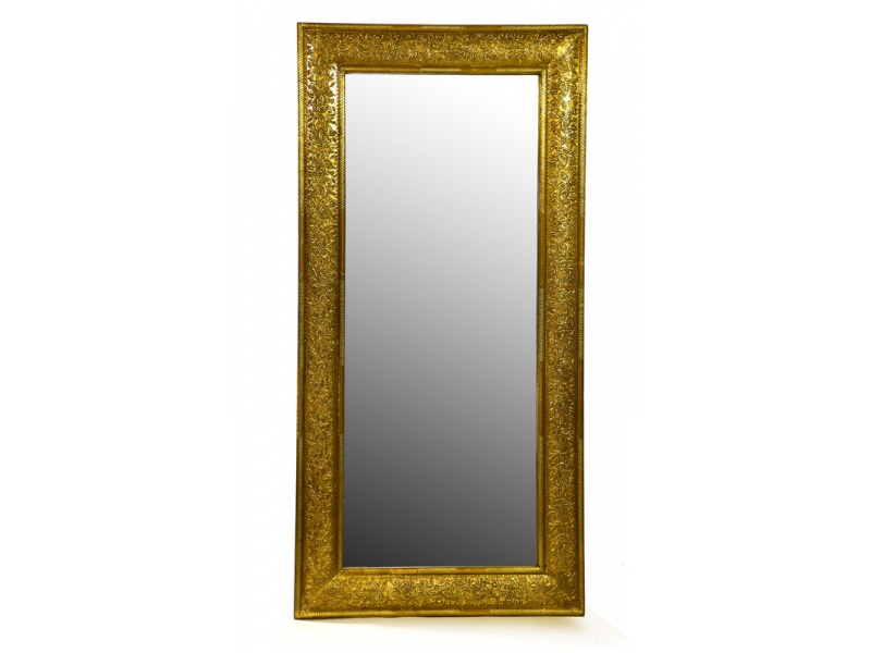 Zrcadlo v dřevěném rámu zdobené mosazným kováním, 60x120x4cm