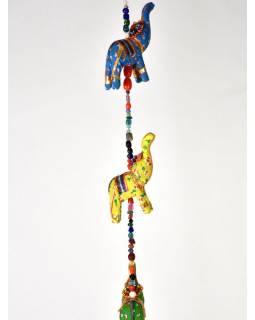 Dekorace k zavěšení, deset slonů se zvonečkem, délka 135cm