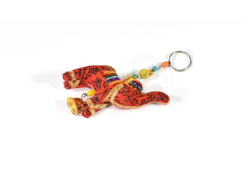 Přívěsek na klíče slon se zvonečkem, oranžový, 9x6cm