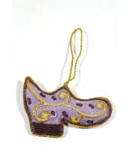 Vánoční ozdoba, botička, fialová, bohatě zlatě zdobená, 10x8cm