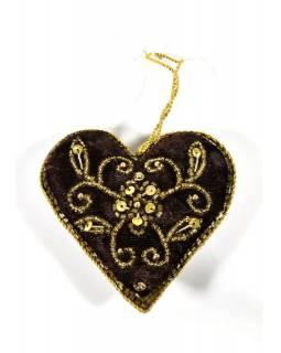 Vánoční ozdoba, srdce, černá, bohatě zlatě zdobená, 11x11cm