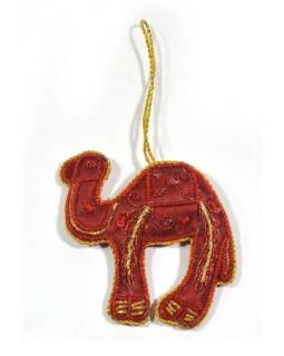 Vánoční ozdoba, velbloud, červená, bohatě zlatě zdobená, 10x9cm