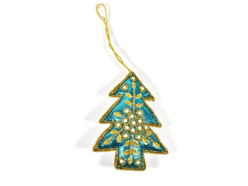 Vánoční ozdoba, stromeček, tyrkysový, bohatě zlatě zdobená, cca 11x8cm