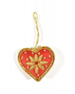 Vánoční ozdoba, srdce, červené, bohatě zlatě zdobená, cca 7x7cm