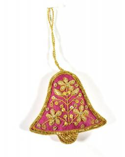 Vánoční ozdoba, fialový zvoneček, bohatě zlatě zdobená, 8x8cm