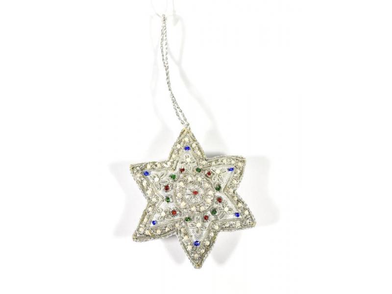 Vánoční ozdoba, stříbrná hvězda, bohatě zlatě zdobená, 8x8cm
