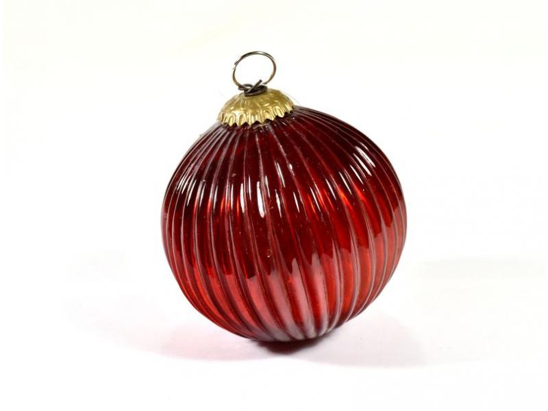 Skleněná vánoční ozdoba, tvar koule, červená, 11x11cm