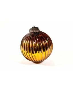 Skleněná vánoční ozdoba, tvar koule, žlutá, 11x11cm