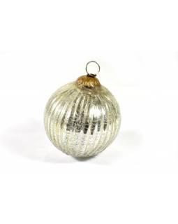 Skleněná vánoční ozdoba, tvar koule, bílá, 11x11cm