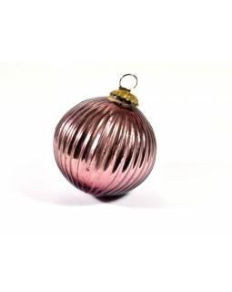 Skleněná vánoční ozdoba, tvar koule, vínová, 11x11cm