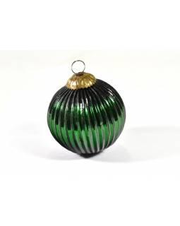 Skleněná vánoční ozdoba, tvar koule, zelená, 11x11cm