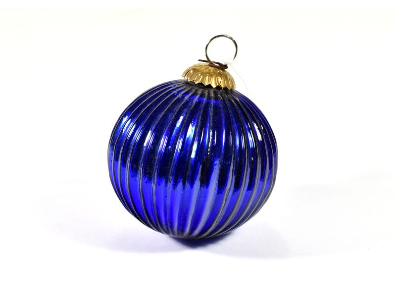 Skleněná vánoční ozdoba, tvar koule, modrá, 11x11cm
