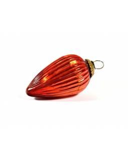 Skleněná vánoční ozdoba, tvar šiška, oranžová, 12x7cm