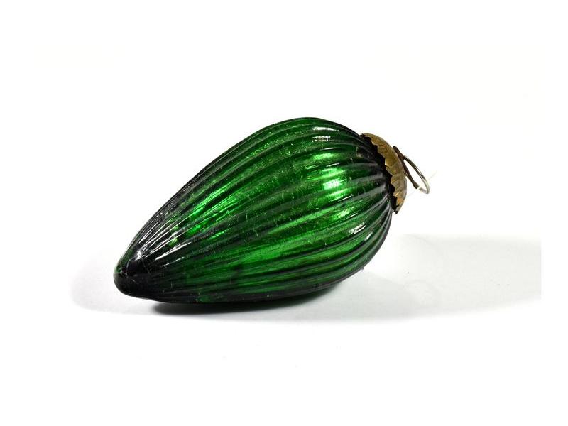 Skleněná vánoční ozdoba, tvar šiška, zelená, 12x7cm