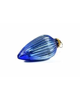 Skleněná vánoční ozdoba, tvar šiška, modrá, 12x7cm