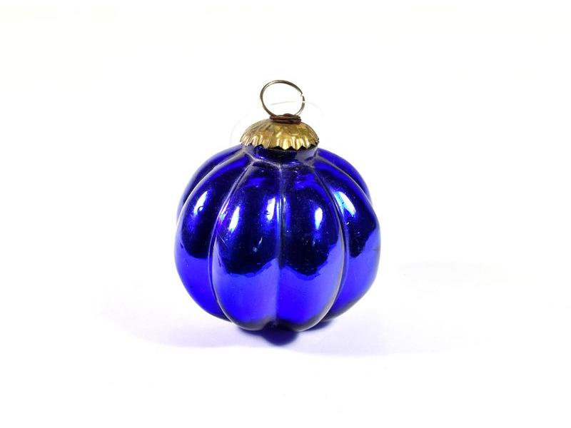 Skleněná vánoční ozdoba, tvar dýně, modrá, 8x8cm