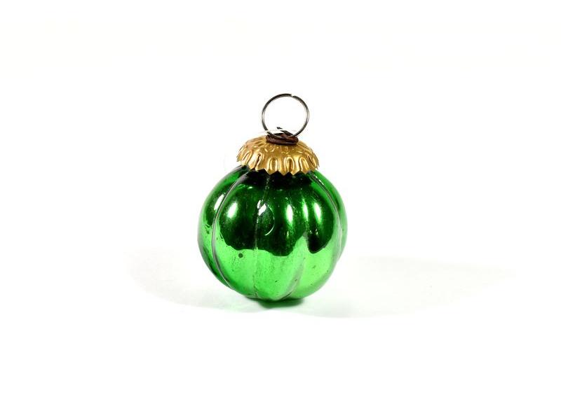 Skleněná vánoční ozdoba, tvar dýně, zelená,  6x6cm